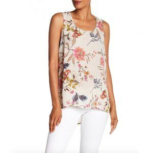 DR2- Floral Pleated Back Sleeveless Blouse